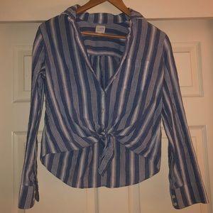 Jcrew Striped Tie Front Blue Stripe Top
